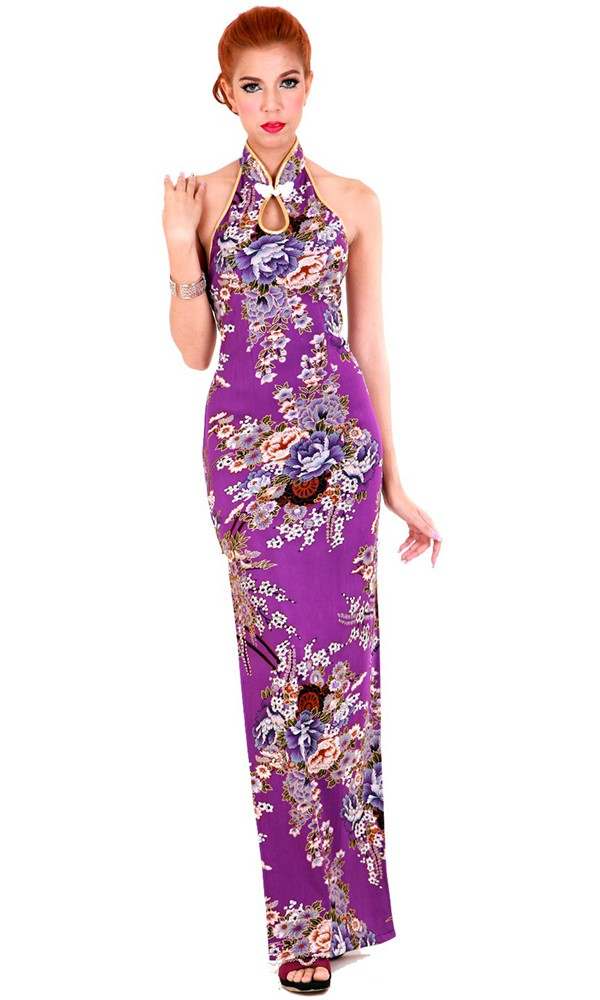 e32a1ab71 Long Purple Floral Cheongsam - Cheongsams & Qipaos - aFashion