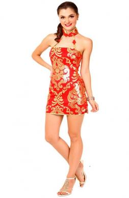 Sexy Cheongsam Mini Dress