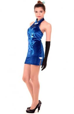 Chic Blue Cheongsam