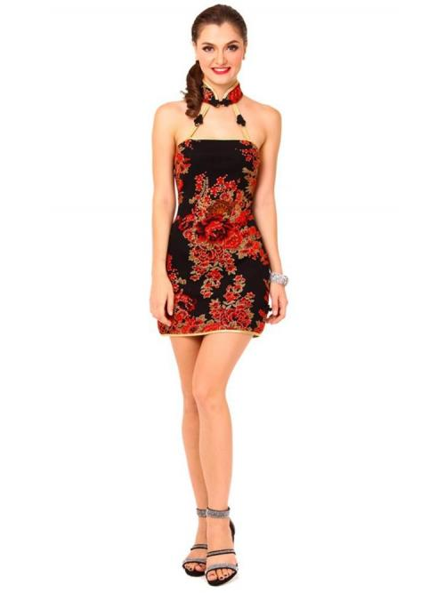 Sexy Short Black Cheongsam