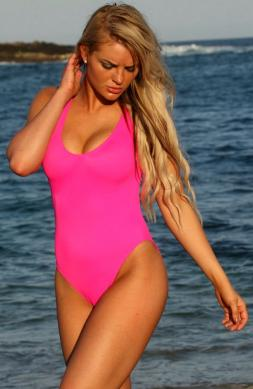 Tasteful Pink One Piece Swimsuit