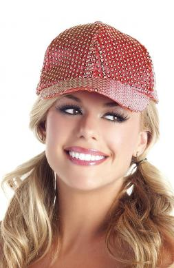 Sequin Baseball Hat Red