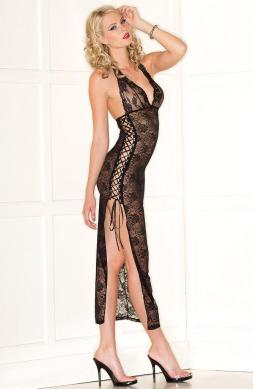 Sheer Lace Halter Dress