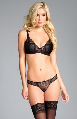 Sheer Lace Bra   Thong Set