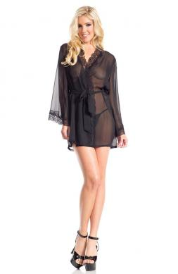 Front Tied Sheer Robe