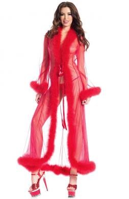 Red Marabou Robe