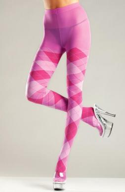 Bubblegum Argyle Tights