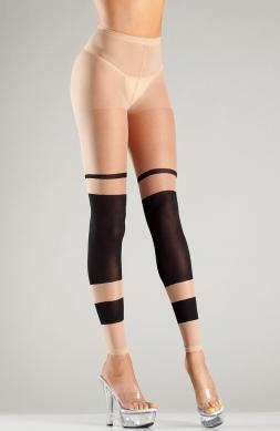 Sheer block stripe footless