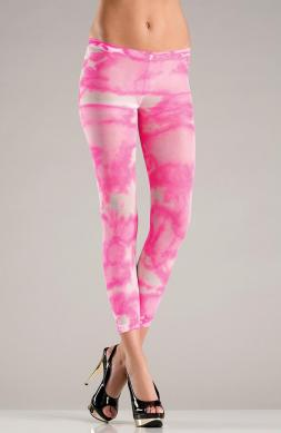 Nylon Opaque Hot Pink Tie Dye Footless Tights