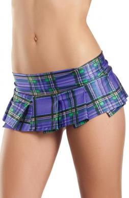 Purple Plaid Mini Skirt