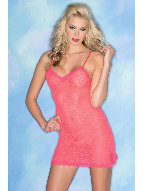 Captivating 2 Piece Stretchy Lace Chemise