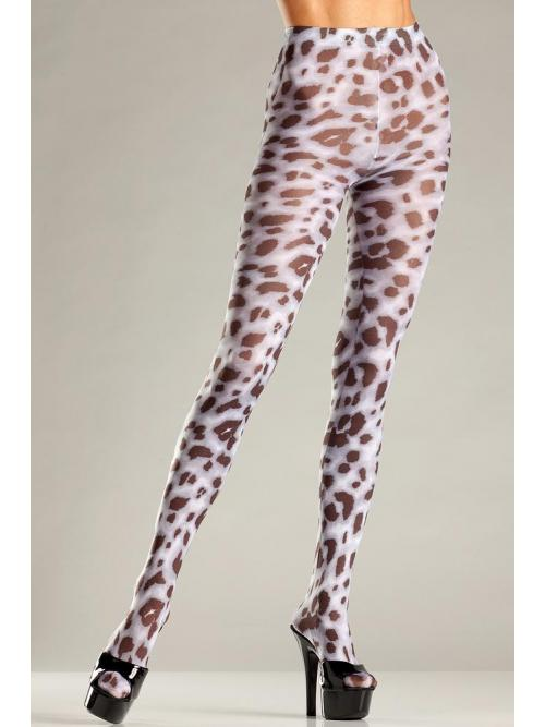 Sheer animal print pantyhose
